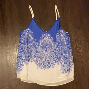 Blu Pepper Ornate Floral Flowy Cami Top